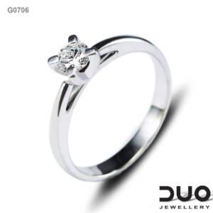 Годежен пръстен G0706- Годежен пръстен от бяло злато и диамант