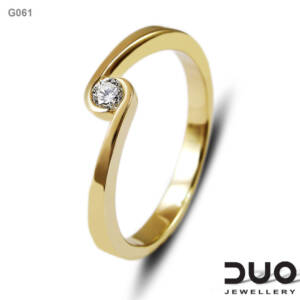 Годежен пръстен G061- Годежен пръстен от жълто злато и диамант