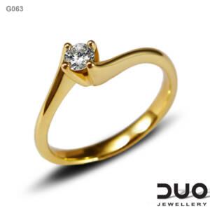 Годежен пръстен G063- Годежен пръстен от жълто злато с диамант