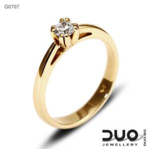 Годежен пръстен G0707- Годежен пръстен от жълто злато с диамант