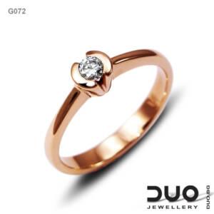 Годежен пръстен G072- Годежен пръстен от розово злато с диамант