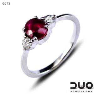 Годежен пръстен G073 - Годежен пръстен от бяло злато с диаманти