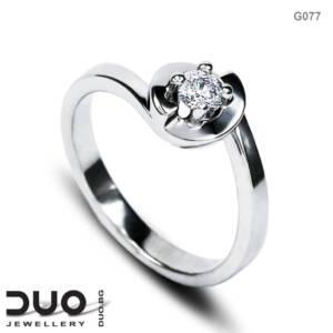 Годежен пръстен G077- Годежен пръстен от бяло злато с диамант