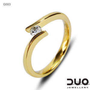Годежен пръстен G083- Годежен пръстен от жълто злато с диамант