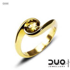 Годежен пръстен G088- Годежен пръстен от жълто злато и цитрин