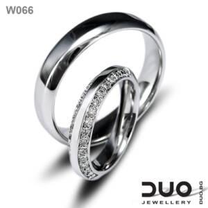 Венчални халки W066 - Брачни халки от бяло злато с диаманти