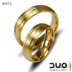 Брачни халки W072 - Венчални халки от жълто злато
