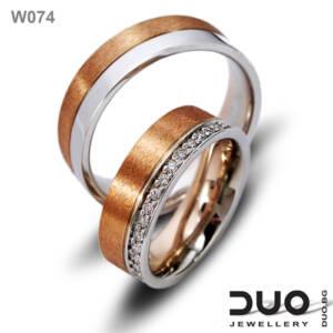 Брачни халки W074 - Венчални халки от бяло и розово злато с диаманти