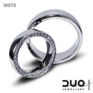 Венчални халки W078 - Брачни халки от бяло злато с диаманти