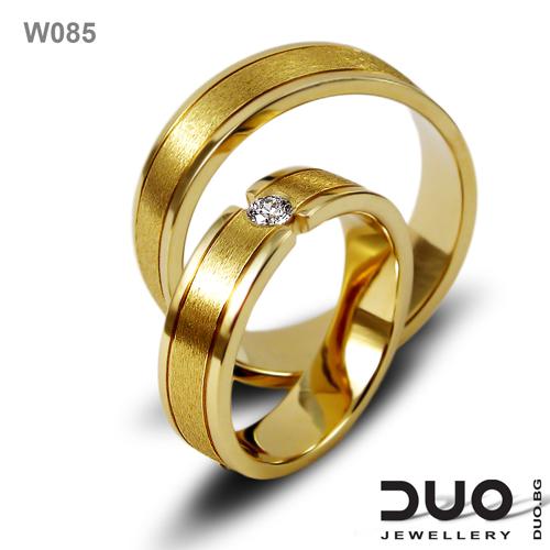 Брачни халки W085 - Венчални халки от жълто злато с диаманти