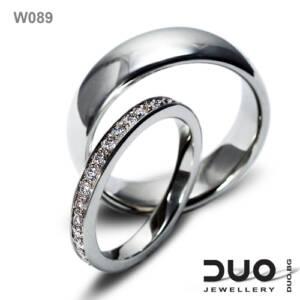 Венчални халки W089 - Брачни халки от бяло злато с диаманти