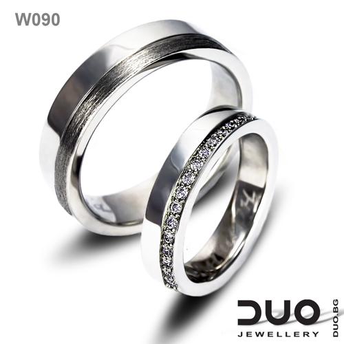 Брачни халки W090 - Венчални халки от бяло злато с ювелирни циркони