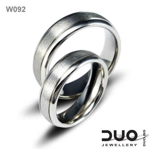 Брачни халки W092 - Венчални халки от бяло злато
