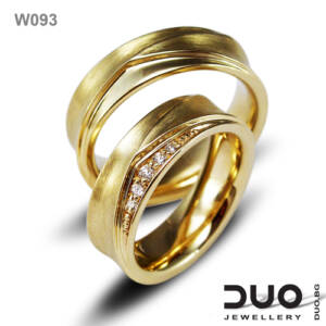 Брачни халки W093 - Венчални халки от жълто злато с диаманти