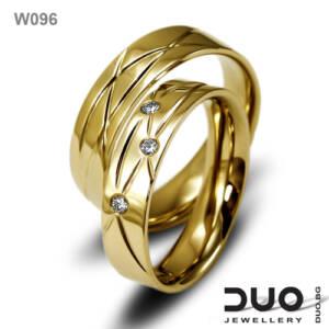 Венчални халки W096 - Брачни халки от жълто злато с диаманти