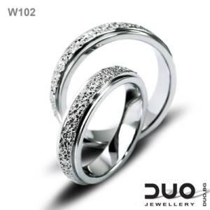 Венчални халки W102 - Брачни халки от бяло злато