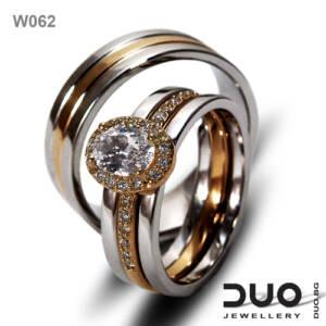 Брачни халки W105 - Венчални халки от бяло и розово злато с диаманти