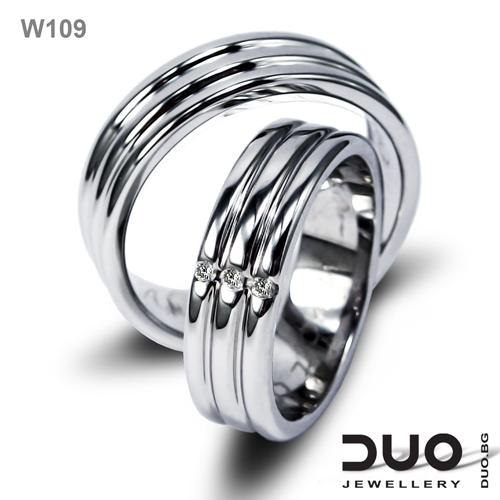 Брачни халки W109 - Венчални халки от бяло злато с диаманти