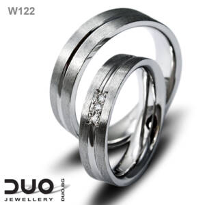 Брачни халки W122 - Венчални халки бяло злато с ювелирни циркони