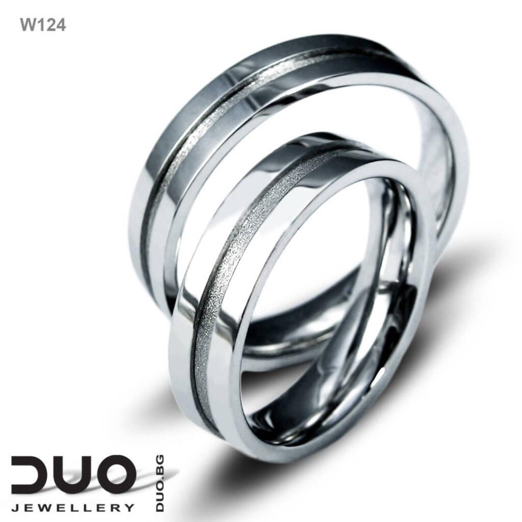 Брачни халки W124 - Венчални халки от бяло злато