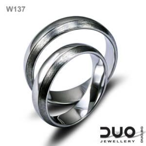 Брачни халки W137 - Венчални халки от бяло злато