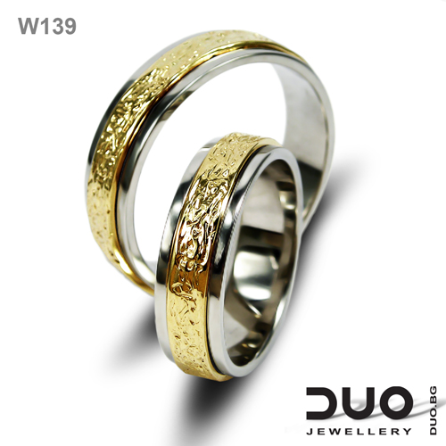Брачни халки W139 - Венчални халки от бяло и жълто злато