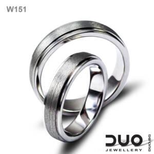 Венчални халки W151 - Брачни халки от бяло злато