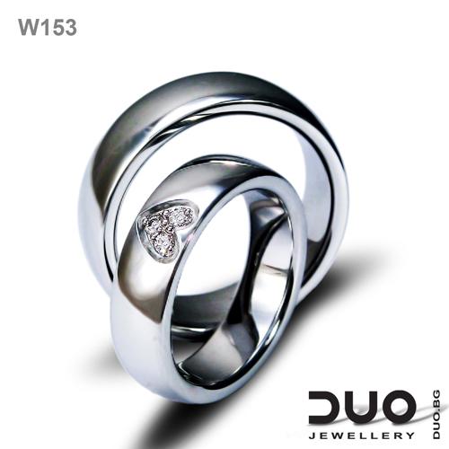 Брачни халки W153 - Венчални халки от бяло злато с ювелирни циркони