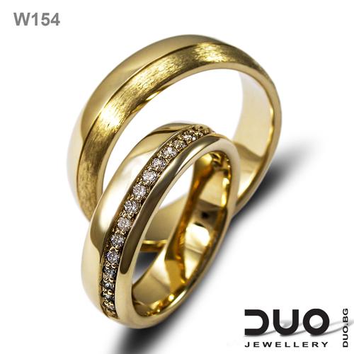 Брачни халки W154 - Венчални халки от жълто злато с диаманти
