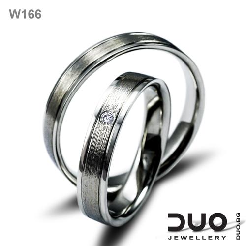 Брачни халки W166 - Венчални халки бяло злато и ювелирни циркони