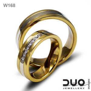 Брачни халки W168 - Венчални халки от бяло и жълто злато с диаманти