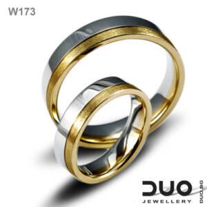 Венчални халки W173 - Брачни халки жълто и бяло злато с диаманти