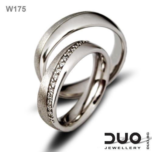 Брачни халки W175 - Венчални халки от бяло злато с диаманти
