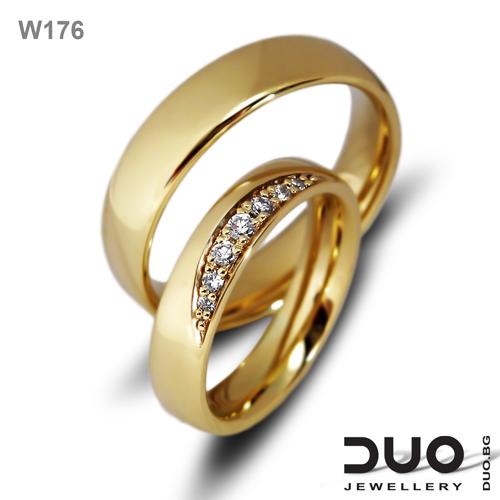Брачни халки W176 - Венчални халки жълто злато с диаманти