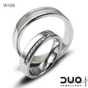 Брачни халки W186 - Венчални халки от бяло злато с диаманти