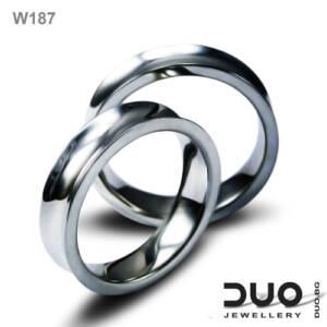 Брачни халки W187 - Венчални халки от бяло злато