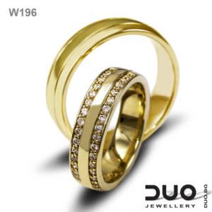 Венчални халки W196 - Брачни халки от жълто злато с диаманти