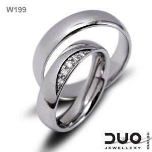 Брачни халки W199 - Венчални халки бяло злато с ювелирни циркони