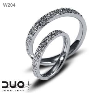 Брачни халки W204 - Венчални халки от бяло злато