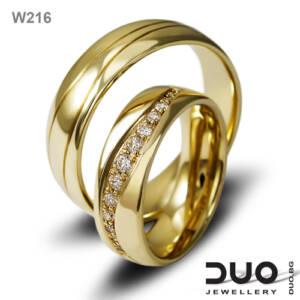 Венчални халки W216 - Брачни халки от жълто злато с диаманти