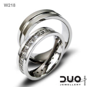 Брачни халки W218 - Венчални халки от бяло злато с диаманти